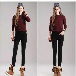 Tople ženske hlače s podlago iz žameta