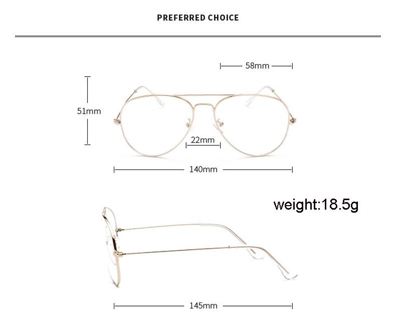 Očala aviator mere